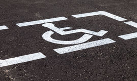 Parking places with handicapped signs and marking li Stock Photo