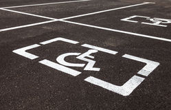 Parking places with handicapped signs and marking li Royalty Free Stock Photos