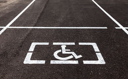 Parking places with handicapped signs and marking li Royalty Free Stock Image