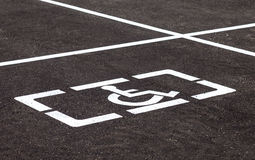 Parking places with handicapped signs and marking li Stock Image