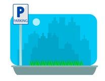 Parking pojęcie w mieszkanie stylu nad miasto sylwetką Płaska ilustracja Obrazy Royalty Free