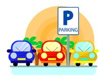 Parking pojęcie z czerwieni, zieleni i błękita samochodami w mieszkaniu, projektuje nad zmierzchem Płaska ilustracja royalty ilustracja
