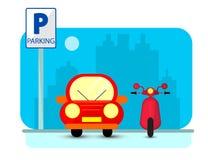 Parking pojęcie z czerwonym samochodem i byke w mieszkaniu projektujemy nad miasto sylwetką Płaska ilustracja Obraz Royalty Free