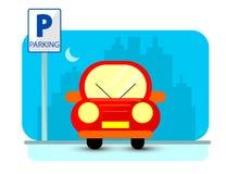 Parking pojęcie z czerwonym samochodem w mieszkanie stylu nad miasto sylwetką Płaska ilustracja Obraz Royalty Free