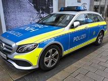 Parking police car in pedestrian zone. A parking police car in pedestrian zone royalty free stock photo