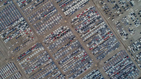 Parking port. Automobile factory. New car factory awaiting trans stock photos