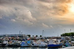 Parking port for yachts in Cambrils Spain Royalty Free Stock Images