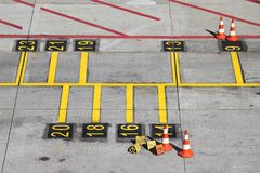 Parking position. For airliners at large airport royalty free stock image