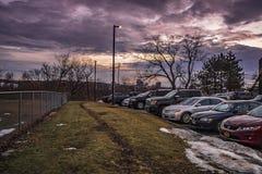 Parking public à Utica, New York hors de la ville, Etats-Unis photographie stock