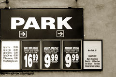 Parking rates Stock Image