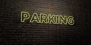 PARKING -Realistic Neon Sign on Brick Wall background - 3D rendered royalty free stock image Stock Images