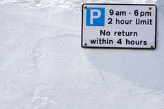 Parking restrictions. 2 hour parking. Suffolk England Stock Photo