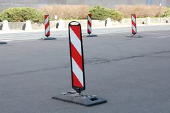 Parking. Obstacle detour on the right side royalty free stock photography