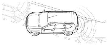 Parking samochodowa wektorowa kreskowa ilustracja Obrazy Stock