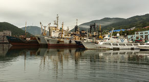 Parking of sea vessels in the Avacha Bay of the Kamchatka Peninsula. Royalty Free Stock Image