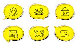 Free Parking Security, Yummy Smile And Restaurant Food Icons Set. Wallet Sign. Video Camera, Emoticon, Cutlery. Vector Stock Images - 191162734
