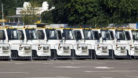 Parking of service vehicles royalty free stock photography