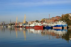 The Parking ships in the river port Royalty Free Stock Image