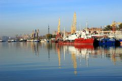 The Parking ships in the river port Stock Photos