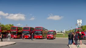 Parking of sightseeing buses - Pombal square Stock Photos