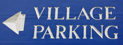 Parking Sign. A blue Village Parking sign Royalty Free Stock Photo