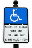 Parking Sign. The Disabled Parking Sign Notice Stock Photography