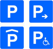 Parking Sign. Illustration Of Four Different Parking Signs Royalty Free Stock Photography