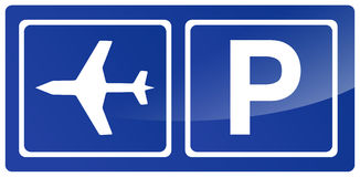 Parking Sign with Airplane Stock Photo