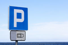 Parking sign at beach Stock Photo