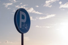 Parking sign for bicycles. Royalty Free Stock Photos