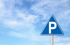 Parking sign with blue sky Stock Image
