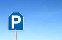 Parking sign with blue sky Stock Photos