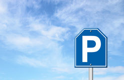 Parking sign with blue sky Royalty Free Stock Photography