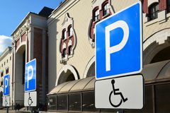 Parking sign for disabled people to  Kazansky Railway Station Stock Photo