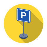 Parking sign icon in flat style isolated on white background. Parking zone symbol stock vector illustration. Royalty Free Stock Image