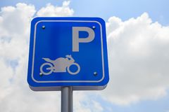 Parking sign for motorbikes Royalty Free Stock Image