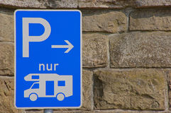 Parking sign for motorhomes. In Germany Royalty Free Stock Photos