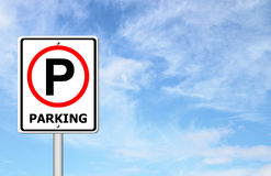 Parking sign over blue sky Royalty Free Stock Photos