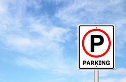 Parking sign over blue sky Royalty Free Stock Photography
