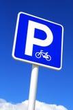Parking sign. Parking sign over blue sky background stock photo
