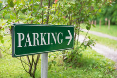 Parking sign in the park Royalty Free Stock Photo
