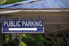 Parking sign. A public parking sign directs traffic to the nearest lot Stock Photo