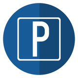 Parking sign road street vehicle shadow Stock Images