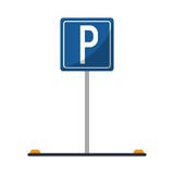 Parking sign road street vehicle Royalty Free Stock Photo