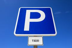 Taxi Parking Sign. A Parking Sign for Taxis Stock Image