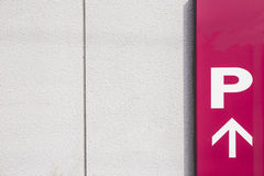 Parking Sign in Urban Setting. Red Parking Sign in Urban Setting royalty free stock photo