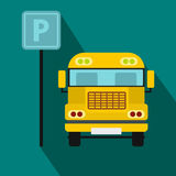 Parking sign and yellow bus icon, flat style Stock Photography
