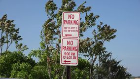 Parking Signs, Warnings, Traffic Laws stock footage
