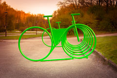 Parking space for bicycles outside Royalty Free Stock Images