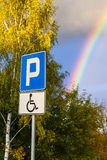 Parking space for the disabled person. Royalty Free Stock Photos